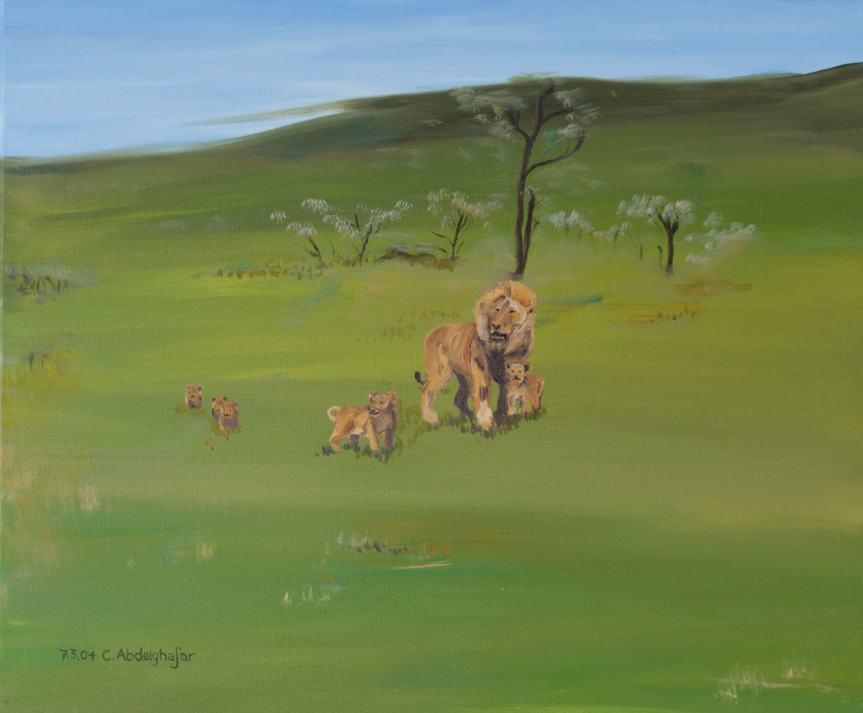 Claudia Luethi Alias Abdelghafar; Lions, 2004, Original Painting Oil, 60 x 50 cm. Artwork description: 241 Oilpainting on canvas from a lionsfamily.  Do you see the lionbabies in the gras.  They are really sweet, arent they The size of the painting is without frame 50 x 60 x 2 cm and with frame 53 x 63 x 3 cm, the painting was finished ...