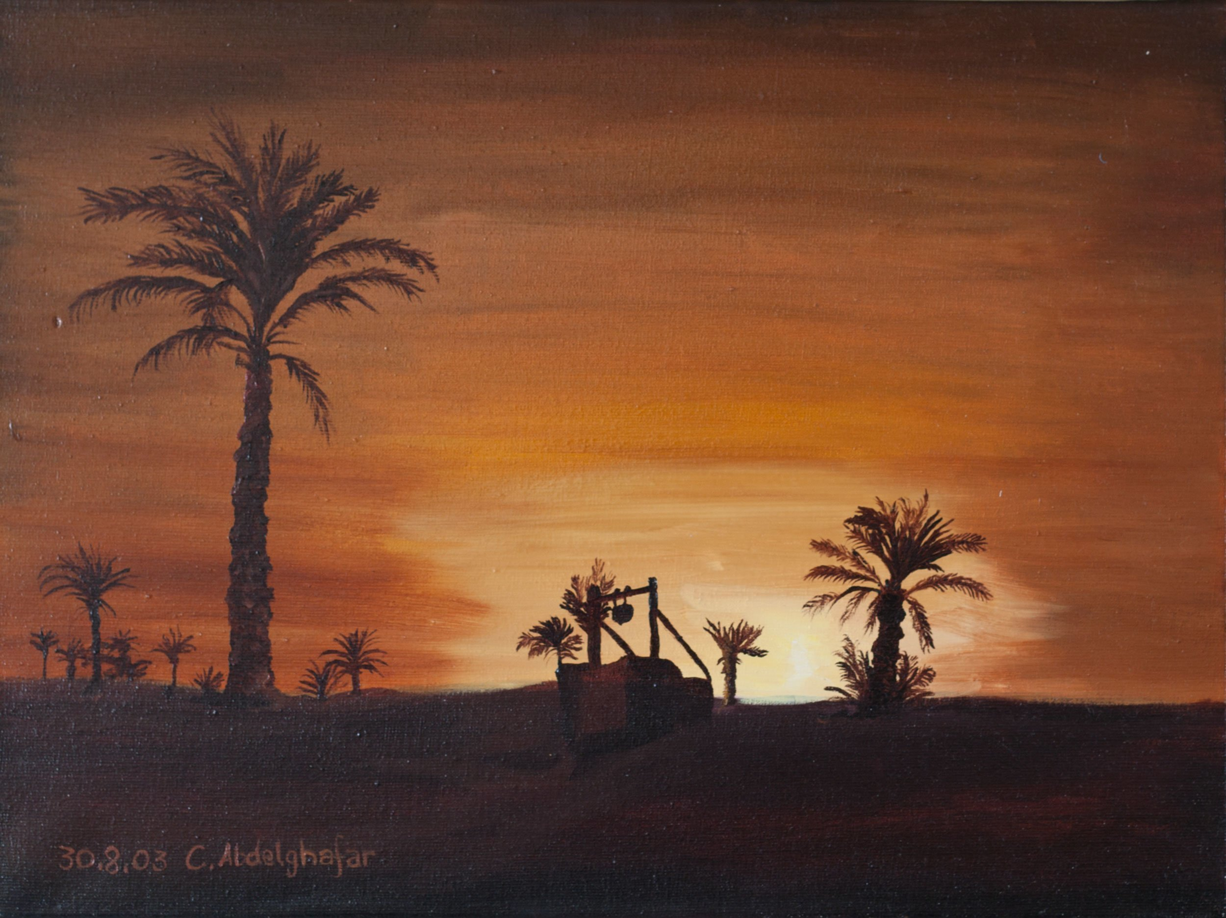 Claudia Luethi Alias Abdelghafar; Oasis While Sunset, 2003, Original Painting Oil, 40 x 30 cm. Artwork description: 241 Wonderful oilpainting on canvas from an oasis while sunset.  You see simple clear lines but also I kind of richness in this painting The size of the painting is without frame 30 x 40 x 2 cm and with frame 33 x 43 x 3 cm, the ...