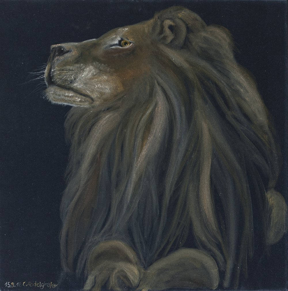 Claudia Luethi Alias Abdelghafar; Proud Lion, 2012, Original Painting Oil, 60 x 60 cm. Artwork description: 241 Oilpainting on black velvet from a proud lion.  Do you feel the look at you, he is looking, or not He is soooo proud The size of the painting is without frame 60 x 60 x 2 cm and with frame 63 x 63 x 3 cm, ...