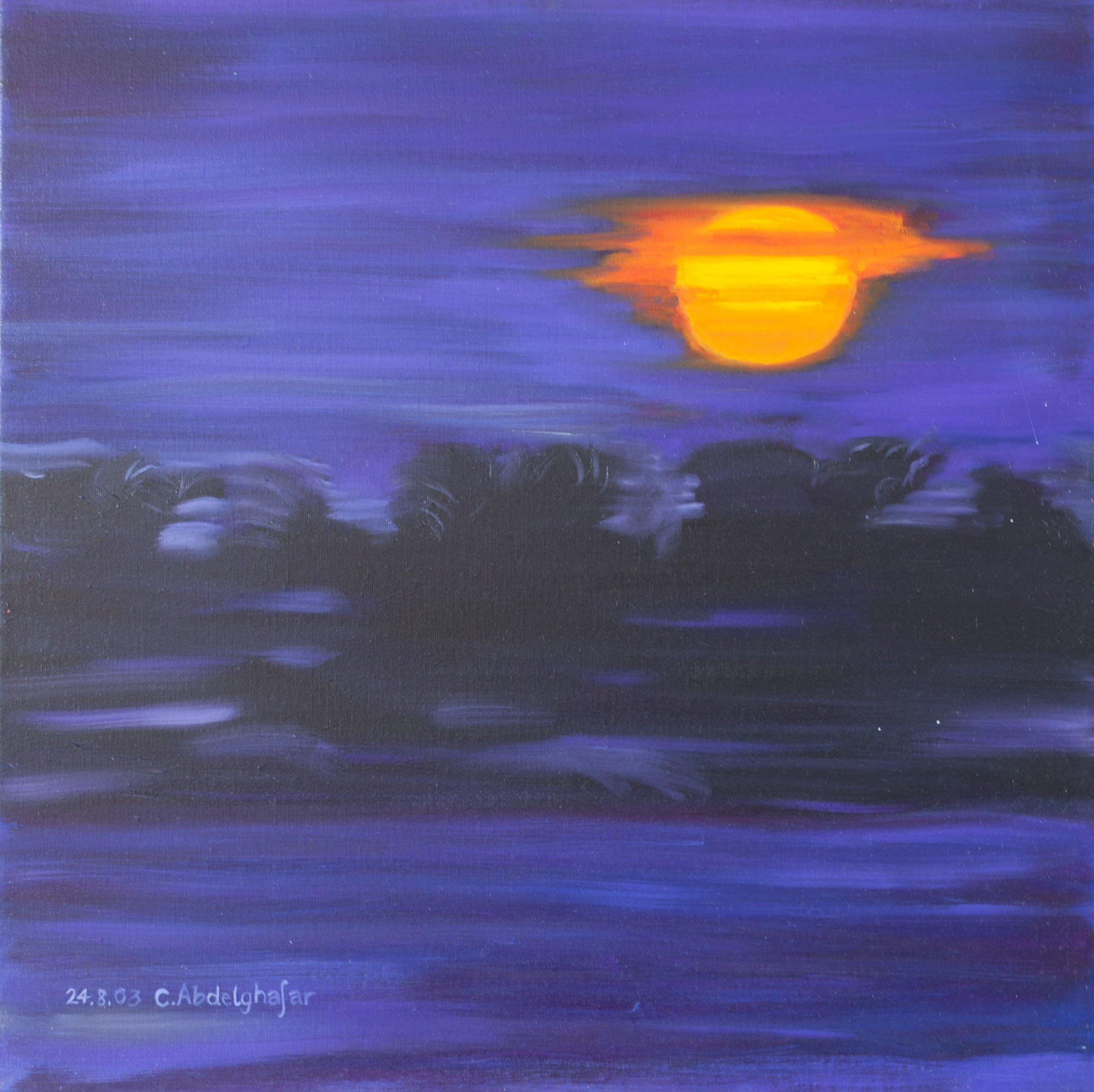 Claudia Luethi Alias Abdelghafar; Sunset, 2003, Original Painting Oil, 60 x 60 cm. Artwork description: 241 Wonderful oilpainting on canvas from a sunset in africa.  Only four colours mixed and organised together makes a wonderful painting with a lot of simple but interesting lines.  Do you hear the lions roaring The size of the painting is without frame 60 x 60 x 2 ...