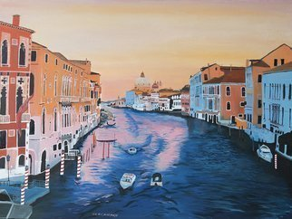 Claudia Luethi Alias Abdelghafar; Venice, 2015, Original Painting Oil, 80 x 60 cm. Artwork description: 241 Wonderful oilpainting on canvas from Venice while sunset with bent perspective and many wonderful details.  When I was the first time in venice I realised that this city has really no cars and streets That was just an amazing thought.  You have to visit this city, sometimes ...