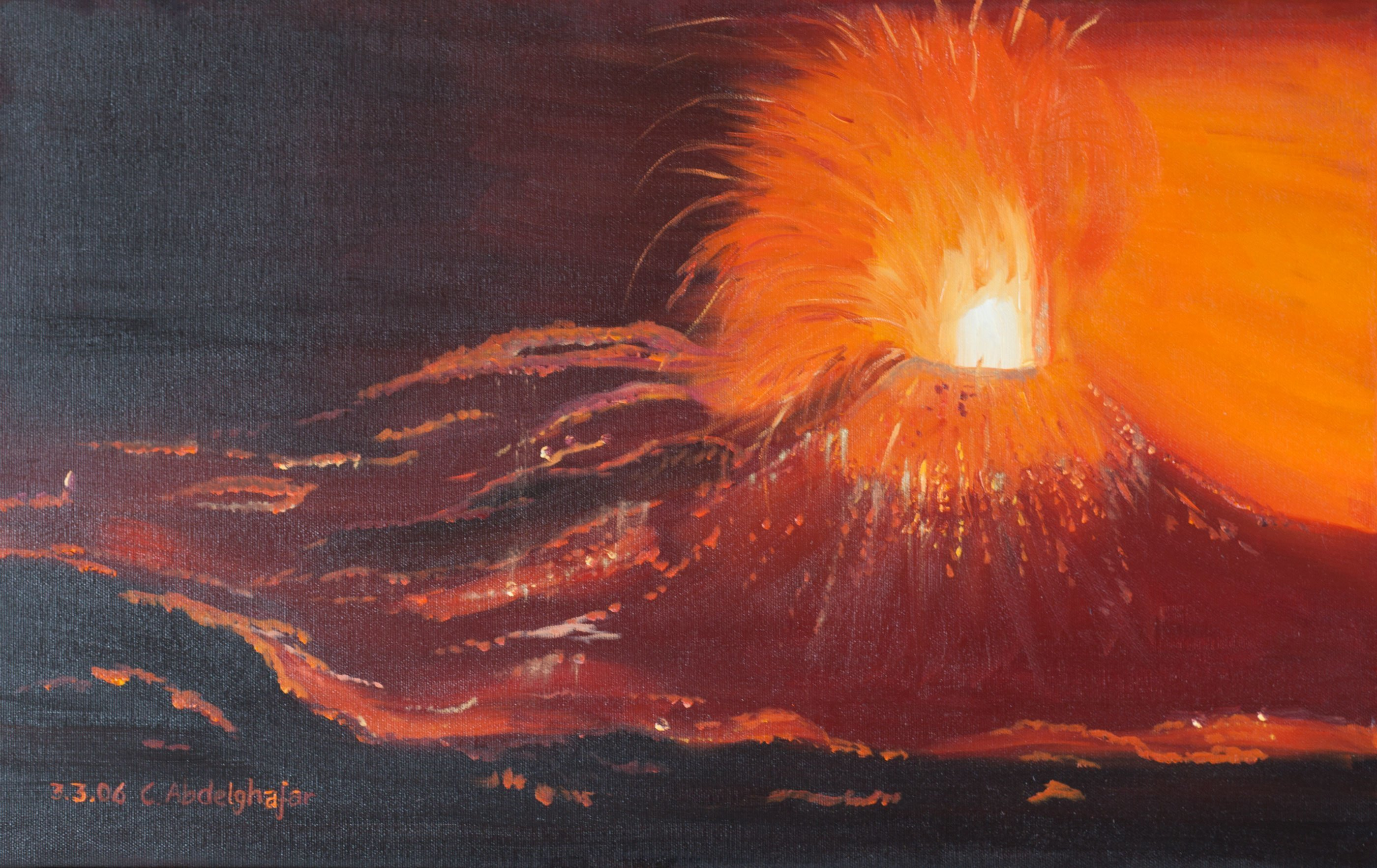 Claudia Luethi Alias Abdelghafar; Volcanique Eruption, 2006, Original Painting Oil, 61 x 38 cm. Artwork description: 241 Oilpainting on canvas from a volcanic eruption.  The force and dynamic from the lava and the volcanos are for me fascinating since I am a child.  In school I did a lecture about volcanos and the time was limited to 20 minutes but the lecture I did ...
