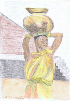 Claudia Luethi Alias Abdelghafar; African Woman, 2005, Original Drawing Other, 210 x 297 mm. Artwork description: 241 An african woman, where is she looking Drawing with colored pencil on DIN A4 paper...