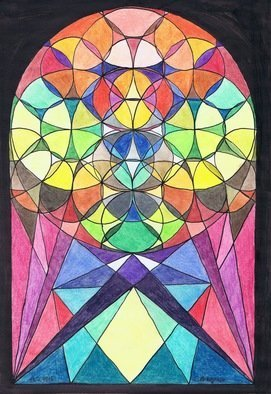 Claudia Luethi Alias Abdelghafar; Church Window 2012, 2012, Original Drawing Other, 297 x 420 mm. Artwork description: 241 Church window with a lot of colorsDrawing with colored pencil on DIN A3 paper...