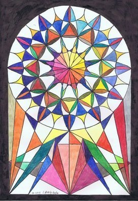 Claudia Luethi Alias Abdelghafar; Church Window 2013, 2013, Original Drawing Other, 297 x 420 mm. Artwork description: 241 Church window with a lot of colorsDrawing with colored pencil on DIN A3 paper...