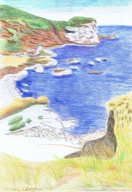 Claudia Luethi Alias Abdelghafar; Coast Landscape, 2003, Original Drawing Other, 297 x 420 mm. Artwork description: 241 Coast Landscape, just looking like holiday Drawing with colored pencil on DIN A3 paper...
