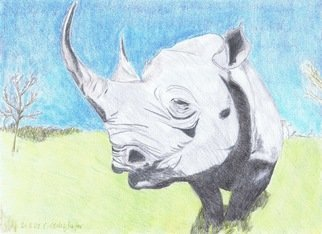 Claudia Luethi Alias Abdelghafar; Impressive Rhino, 2009, Original Drawing Other, 420 x 297 mm. Artwork description: 241 Impressive Rhino just looking at you Drawing with colored pencil on DIN A3 paper...