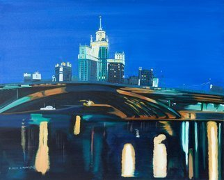 Claudia Luethi Alias Abdelghafar; Moscow By Night, 2006, Original Painting Oil, 100 x 80 cm. Artwork description: 241 Oilpainting on canvas from Moscow by night. Just a look from another side of Moscow. I love the lights on the river but also the little dark places and I am wondering what was happened there  My vather was an architect, I think this is why I ...