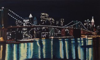 Claudia Luethi Alias Abdelghafar; New Yorks Brooklyn Bridge, 2014, Original Painting Oil, 100 x 60 cm. Artwork description: 241 Oilpainting on canvas from the New Yorks Brooklin Bridge by night. While painting the lights in  the different windows of the buildings I was thinking about all the thinks that happens there in this moment, there is joy, anger, sadness, arguments, discussions, chats, love and a lot ...