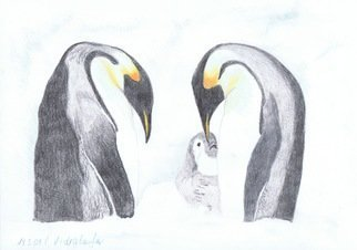 Claudia Luethi Alias Abdelghafar; Penguin Family, 2009, Original Drawing Other, 420 x 297 mm. Artwork description: 241 A little penguin family with the baby, what a wonderful moment  Drawing with colored pencil on DIN A3 paper. ...