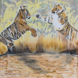 Claudia Luethi Alias Abdelghafar; Two Tigers Fighting, 2016, Original Painting Oil, 40 x 42 cm. Artwork description: 241 Dynamic oilpainting on white velvet from two tiger fighting or are they playing  The fighting tigers who show the new, the playing. There is no winner and no looser, just only the two strong and equal tigers. This technique is very rare and difficult. There are only ...