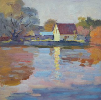 Lena Kurovska; Autumn Evening, 2014, Original Painting Oil, 30 x 30 cm. Artwork description: 241  landscape, oil painting on canvas on board, river, plein air, evening, riverscape ...