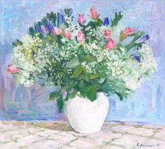 Lena Kurovska; Flowers, 2005, Original Painting Oil, 55 x 50 cm. Artwork description: 241 2005Oil on Canvas50x55cm...