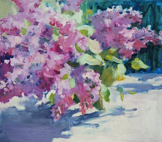 Lena Kurovska; Lilacs, 2014, Original Painting Oil, 45 x 40 cm. Artwork description: 241  lilacs, oil painting on canvas, still life, plein air ...