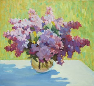 Lena Kurovska; Still Life With Lilacs, 2014, Original Painting Oil, 55 x 50 cm. Artwork description: 241 lilacs, oil painting on canvas, still life, plein air...