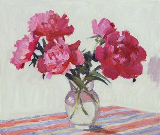 Lena Kurovska; Still Life With Pink Peonies, 2014, Original Painting Oil, 40 x 35 cm. Artwork description: 241 peonies, oil painting on canvas, still life ...