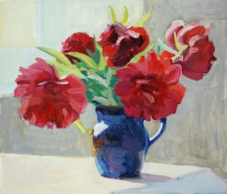 Lena Kurovska; Still Life With Red Peonies, 2014, Original Painting Oil, 40 x 35 cm. Artwork description: 241  peonies, oil painting on canvas, still life...