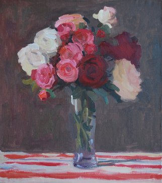 Lena Kurovska; Still Life With Roses, 2013, Original Painting Oil, 45 x 50 cm. Artwork description: 241  flowers, oil painting on canvas, still life with roses ...