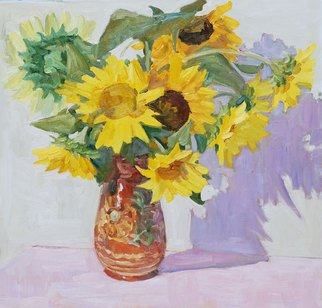 Lena Kurovska; Sunflowers, 2010, Original Painting Oil, 60 x 60 cm. Artwork description: 241 still life with sunflowers, floral, oil painting...