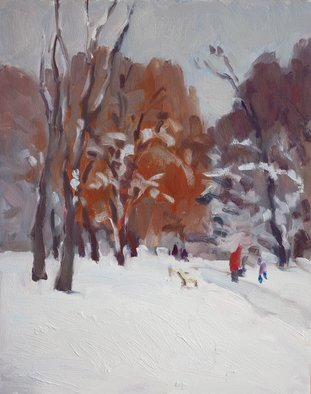 Lena Kurovska; Winter In Park, 2014, Original Painting Oil, 24 x 30 cm. Artwork description: 241  landscape, oil painting on canvas, winter, park, plein air ...
