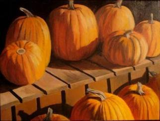Kylie Fair; Gifts Of Fall , 2008, Original Painting Acrylic, 2 x 1.6 inches. Artwork description: 241  Pumpkins, acrylic, still life, Fall, orange, bright, food, vegetables ...
