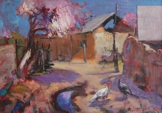 Doorov Suiorkul; Gossipping Turkeys, 2011, Original Painting Oil, 100 x 70 cm.
