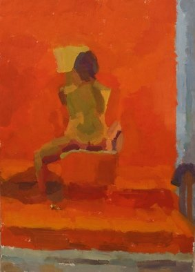 Kyriakos Frantzeskos; Study On Nude, 2013, Original Painting Oil, 50 x 70 cm. Artwork description: 241 woman nude, first, year, studies, observation, happiness, suspense, orange textile, people, book...