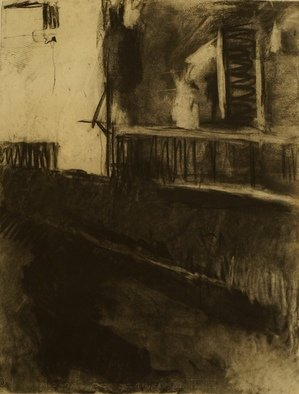 Kyriakos Frantzeskos; View Of Ground Floor, 2013, Original Drawing Charcoal, 50 x 70 cm. Artwork description: 241 charcoal, block of flats, building, grandma, house, home, loneliness...