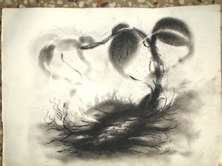 Lalit Pant; Nature, 2008, Original Drawing Charcoal, 14 x 15 cm. Artwork description: 241  everthing is in nature ...