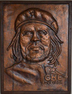 Charalambos  Lambrou; Che Guevara, 2009, Original Sculpture Other, 32 x 42 cm. Artwork description: 241 A Vintage handmade artwork of copper presented Che Guevara. Technique Repousse in copper sheet.Dimensions 32* 42 centimeters included wood frame. Che Guevara was an Argentine Marxist revolutionary, physician, author, guerrilla leader, diplomat, and military theorist. Che Guevara was an instrumental figure in Fidel Castros Cuban Revolution. ...