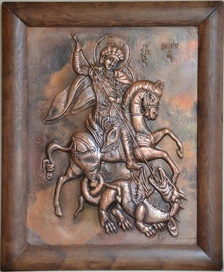 Charalambos  Lambrou; Saint George , 2012, Original Sculpture Other, 50 x 61 cm. Artwork description: 241  A Vintage handmade artwork of copper presented Saint George. Technique: Repousse in copper sheet50* 61 centimeters included wood frame.St. George was a great miracle worker and martyr lived in the latter part of the third century A. D. , during Diocletian' s rule of the Roman ...