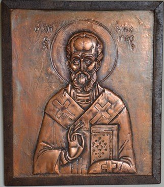 Charalambos  Lambrou; Saint Nicholas , 2004, Original Sculpture Other, 38 x 44 cm. Artwork description: 241  A Vintage handmade artwork of copper presented Saint Nicholas. Technique Repousse in copper sheet. Dimensions 38* 44 centimeters included wood frame. Saint Nicholas was a historic 4th- century Christian saint and Greek, Bishop of Myra, in Asia Minor ( modern- day Demre, Turkey) . He dedicated his life to ...
