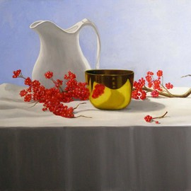 Lin La Mer, , , Original Painting Oil, size_width{Winter_Berries-1295489458.jpg} X 20 inches