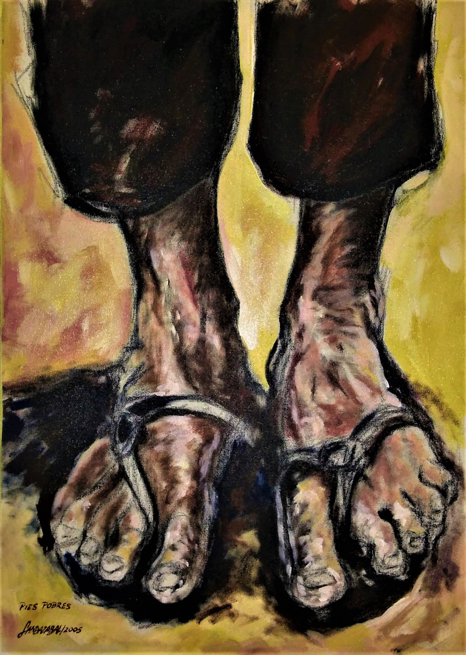 Francisco Landazabal; Poverty Feet, 2005, Original Painting Acrylic, 50 x 70 cm.