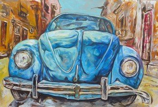 Francisco Landazabal; Beetle, 2017, Original Painting Acrylic, 150 x 100 cm. Artwork description: 241 Beetle, old car, old city, blue tones...
