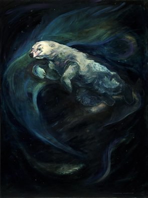 Christine Montague; Polar Bear Swimming In Th..., 2011, Original Painting Oil, 36 x 48 inches. Artwork description: 241  polar bear, polar bears, animals, aurora borealis, northern lights, night, stars, bears, nature, arctic, fantasy, beautiful, spiritual, beautiful, realism, large painting,  ...