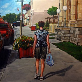 Christine Montague; Shopping On Main Street, 2010, Original Painting Oil, 24 x 24 inches. Artwork description: 241 Realistic figurative landscape scenic figurative)  oil painting of a young woman ( teenager) in summer clothes shopping on Main Street on a beautiful summer day. Beautiful colors. Bright blue sky, red flowers, red car....