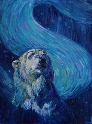 Christine Montague; Starry Night Polar Bear, 2014, Original Painting Oil, 16 x 20 inches. Artwork description: 241  polar bears, polar bear, bears, wildlife, nature,aurora borealis, northern lights, Van Gogh, Starry night, stars, oil painting, wildlife painting, blue , portrait, painting of a polar bear ...