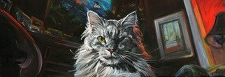 Christine Montague; The Two Faces Of Little Miss, 2007, Original Painting Oil, 30 x 15 inches. Artwork description: 241 Realistic cat portrait of a silver tabby Main Coon. Close up of the cat  seen from a mouse eye view. Realism, representational oil painting & oil stick. Interior living room. From an unusual perspective. ...
