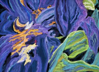 Mary Jane Erard; Blue Iris Series No 3, 2010, Original Pastel, 18 x 23 inches. Artwork description: 241  Abstract floral painting of Iris flower on textured board. Part of series of three paintings. ...