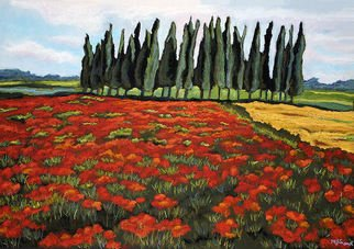 Mary Jane Erard; Poppy And Poplar, 2009, Original Pastel, 30 x 40 inches. Artwork description: 241  Landscape painting in pastel on textured paper. On display at the Toledo Museum of Art, Collectors Corner.Poppy field with graphic poplars in background.  Framed in black frame with off- white matting under UV protected glass.Also see