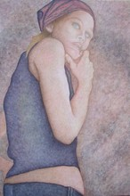 Artist: Peggy Thomas Cacalano's, title: Self Portrait of Younger Pa..., 2009, Printmaking Giclee