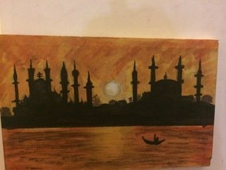 Laraib Yousaf; sunset in istambul, 2017, Original Painting Acrylic, 11 x 17 inches. Artwork description: 241 sunset...