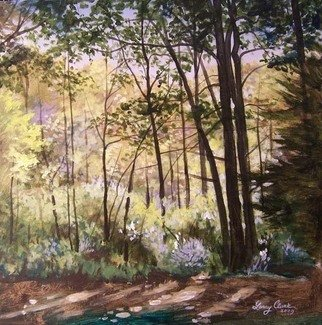 Larry Clark; Backyard Morn, 2010, Original Painting Acrylic, 18 x 18 inches. Artwork description: 241  morning light through woods   ...