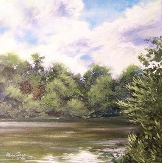Larry Clark; Hoochside, 2010, Original Painting Acrylic, 18 x 18 inches. Artwork description: 241  river bank and clouds  ...