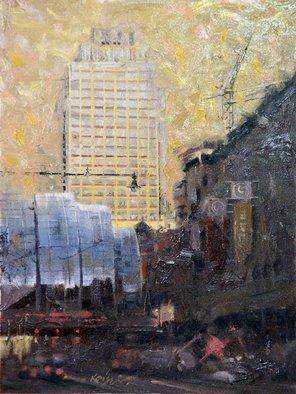 Larry Kaiser; At Work Above Indy Arts Garden, 2006, Original Painting Oil, 12 x 16 inches. Artwork description: 241  En plein- air impressionistic oil on canvas with special attention to the optimistic reflective light in deep shadows. ...