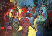 Artist: Larry Kaiser's, title: Cafe Aurante, 1999, Painting Acrylic