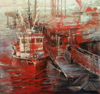 Larry Kaiser; Invalid Boat At Invalid Dock, 2005, Original Painting Oil, 26 x 26 inches. Artwork description: 241  A boat comes in for repair at a huge dock itself being repaired.  North of Boston. ...