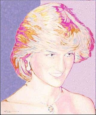 Larry Kaiser; Lady Di, 2003, Original Mixed Media, 20 x 24 inches. Artwork description: 241 Medium sized portrait of Princess Diana done in pop art graphic style and high key acrylic paint and ink on canvas. ...