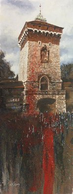 Larry Kaiser; Lamentations on a Bright ..., 2005, Original Painting Oil, 8 x 24 inches. Artwork description: 241  Morners gather outside a holy place in Krakow, Poland. Semi- abstract contemporary/ impressionist work begun en plein- air and finished in studio.  ...